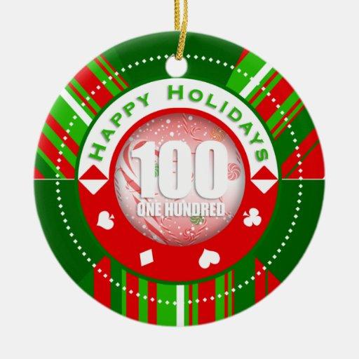 El día de fiesta raya el ornamento de $100 fichas adorno redondo de cerámica