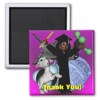 El día de graduación le agradece imán cuadrado