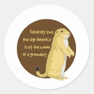 El día de Groundhog Pegatina Redonda