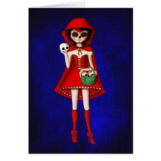 El día de la capa con capucha roja muerta tarjeta de felicitación