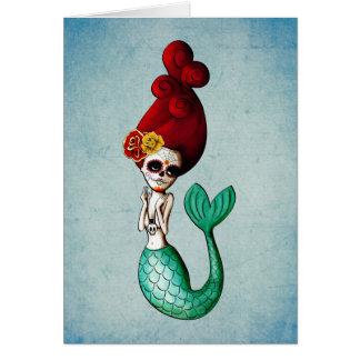 El día de la sirena hermosa muerta tarjeta de felicitación