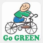 El Día de la Tierra va verde Pegatinas Cuadradas