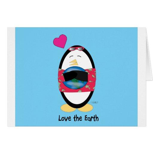 El Día de la Tierra Waddles la tarjeta
