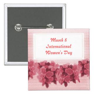 El día de las mujeres internacionales de los rosas pin cuadrada 5 cm