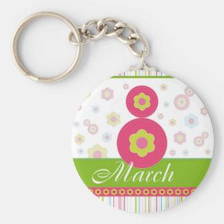 El día de las mujeres internacionales de March8 ma Llavero Redondo Tipo Pin