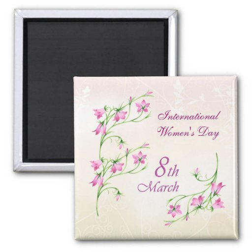 El día de las mujeres internacionales, flores rosa imán cuadrado