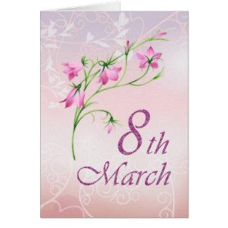 El día de las mujeres internacionales, flores tarjeta de felicitación