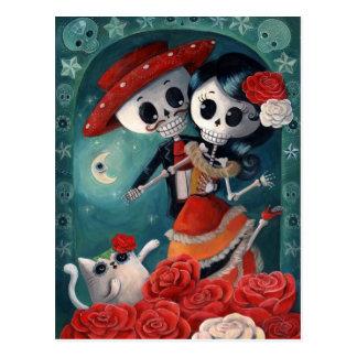 El día de los amantes esqueléticos muertos postal