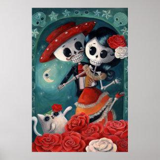 El día de los amantes esqueléticos muertos póster