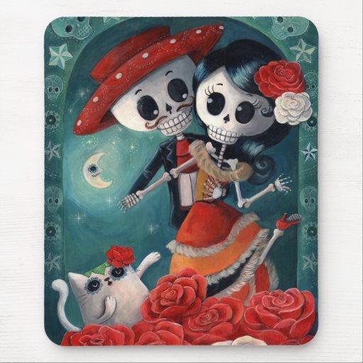 El día de los amantes esqueléticos muertos tapete de raton