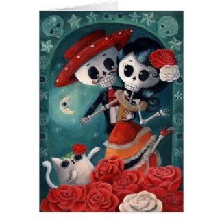 El día de los amantes esqueléticos muertos tarjeta de felicitación