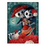El día de los amantes esqueléticos muertos tarjetas postales