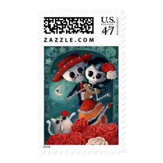 El día de los amantes esqueléticos muertos timbres postales