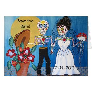 El día de los muertos ahorra la fecha que casan No Felicitación