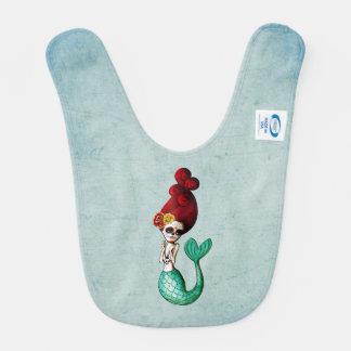 El Dia de Los Muertos Cute Mermaid Baby Bib