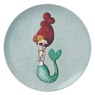 El Dia de Los Muertos Mermaid Dinner Plate