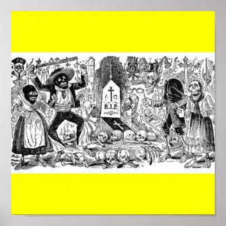 El día de los muertos, México. Circa 1900's. tempr Póster