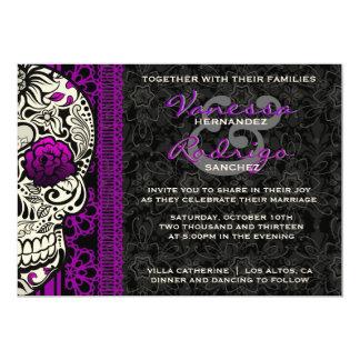 El día de lujo del cráneo del azúcar del cordón de invitación 12,7 x 17,8 cm