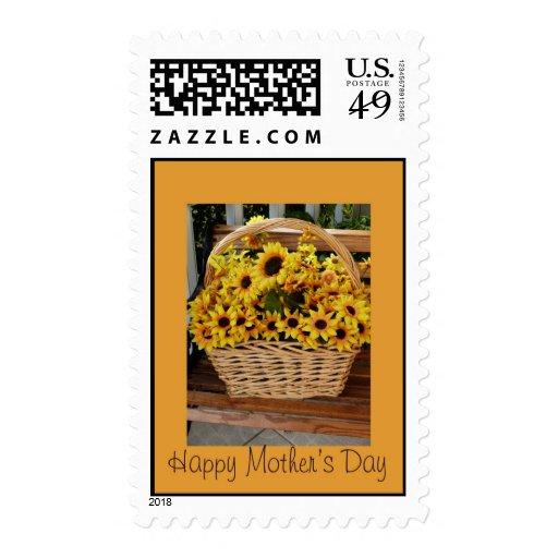 El día de madre, cesta del girasol sellos postales