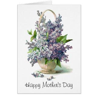 El día de madre: Cesta púrpura preciosa de la lila Tarjeta Pequeña