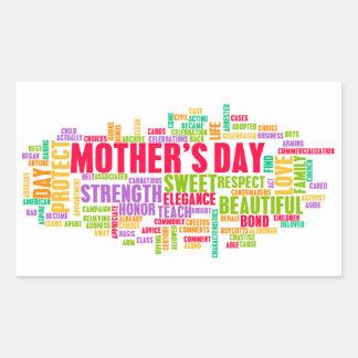 El día de madre como día especial con palabras pegatina rectangular