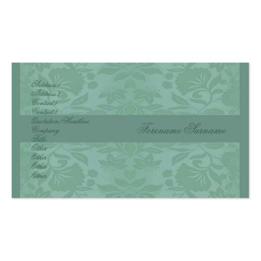 El día de madre del damasco del verde de mar tarjetas de visita