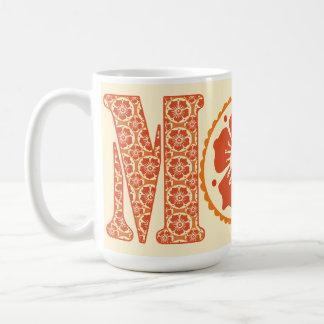 El día de madre del estampado de flores de la taza de café