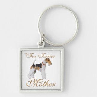El día de madre del fox terrier del alambre llavero personalizado