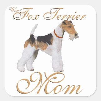 El día de madre del fox terrier del alambre calcomanía cuadradas personalizada