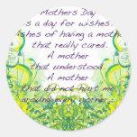 El día de madre desea amarillo verde pegatina redonda