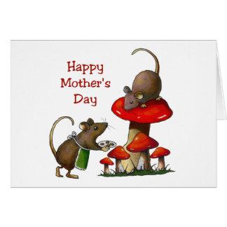 El día de madre: Dos ratones y Toadstool: Galletas Tarjeta