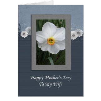 El día de madre feliz a mi esposa - flor blanca felicitación