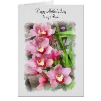 El día de madre feliz a mis orquídeas del rosa de tarjeta de felicitación