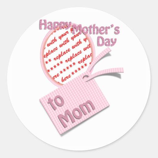 El día de madre feliz al marco de la foto de la pegatina redonda