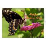 El día de madre feliz, amigo, mariposa en la flor tarjetas