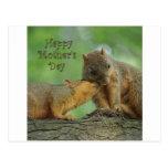 El día de madre feliz - ardilla de la mamá y del b tarjeta postal