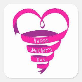 El día de madre feliz, corazón rosado de la cinta calcomanías cuadradas