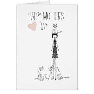 El día de madre feliz de la tarjeta de los gatos