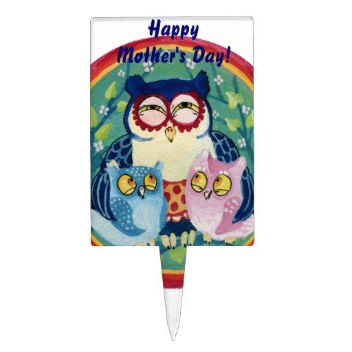 El día de madre feliz del búho de la madre decoración de tarta