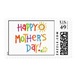 ¡El día de madre feliz del creyón! Estampilla
