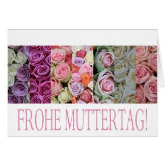 El día de madre feliz en alemán, rosas en colores  tarjeta de felicitación