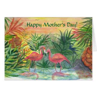 ¡El día de madre feliz! Flamencos rosados Tarjeta De Felicitación