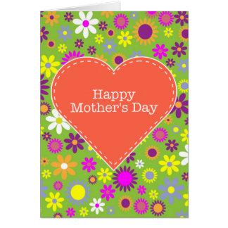 El día de madre feliz floral del vintage tarjeta de felicitación