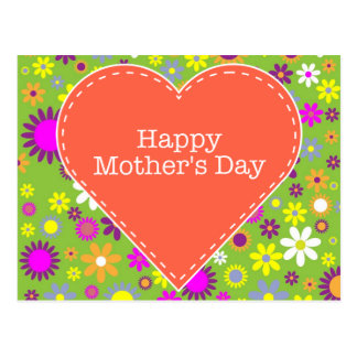 El día de madre feliz floral del vintage postal