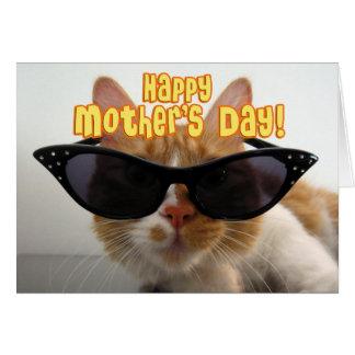 El día de madre feliz - gato fresco en gafas de so tarjeton