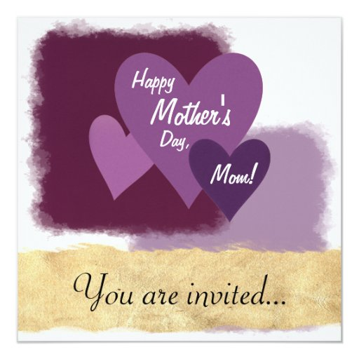 """¡El día de madre feliz, mamá! Tres corazones Invitación 5.25"""" X 5.25"""""""