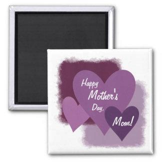 ¡El día de madre feliz, mamá! Tres corazones púrpu Imán Cuadrado