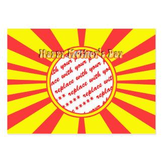 El día de madre feliz - marco retro amarillo de la tarjetas de visita grandes