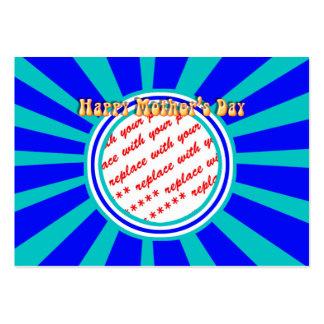 El día de madre feliz - marco retro azul de la tarjetas de visita grandes