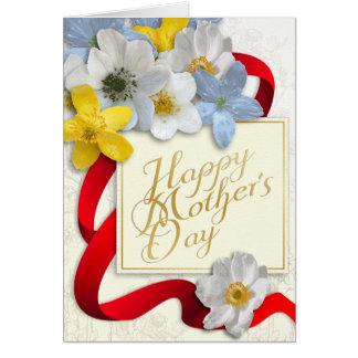 El día de madre feliz - oro, almendra, 2 de color tarjeta de felicitación